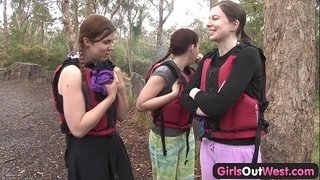 Hairy-amateur-girl-fingered-in-rafting-threesome