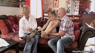 He-finds-his-GF-riding-his-dad's-cock