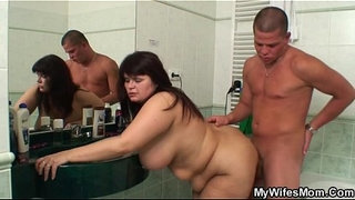 Chubby-mother-in-law-takes-it-in-the-bathroom