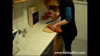 Slutty-wife-fucks-a-giant-meat-sausage-in-the-kitchen
