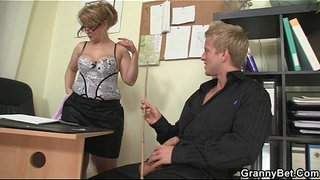 Office-bitch-swallows-his-big-rod