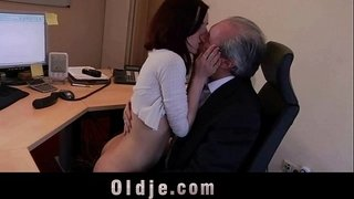 Cutie-young-secretary-horny-for-boss-old-cock-fucks-in-69-cum-swallowing