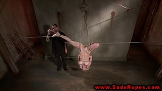 Bound-suspended-and-gagged-bdsm-whore-getting-dildo-fucked