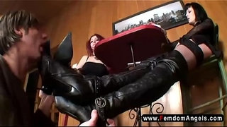 Femdom-foot-worship---gothic-mistresses-bootlicker