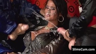 Hot-as-hell-brunette-has-her-big-round-tits-soaked-in-sperm-by-two-lesbos