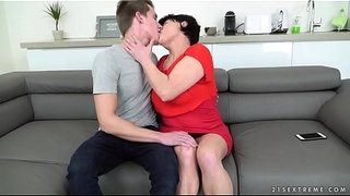 Fat-grandma-riding-on-young-cock---Dolly-Bee,-Oliver