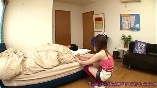 Petite-asian-gf-wakes-bf-up-with-a-handjob