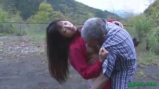 Asian-Girl-Getting-Her-Pussy-Licked-And-Fucked-By-Old-Man-Cum-To-Ass-Outdoor-At